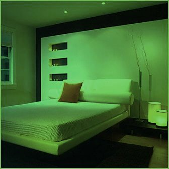 Modern Bedroom Interior Design Green Accent Lighting