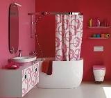 amenajare o baie de culoare roz cu alb