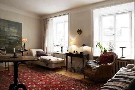 living cu mobila suedeza