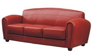 Canapea clasica din piele rosie
