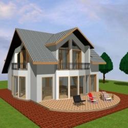 Casa poate fi construita integral din lemn sau partea inferioara