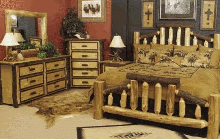 Dormitor rustic cu pat din busteni