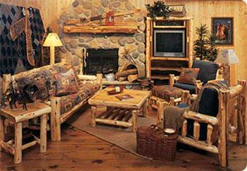 Living rustic cu mobilier din busteni