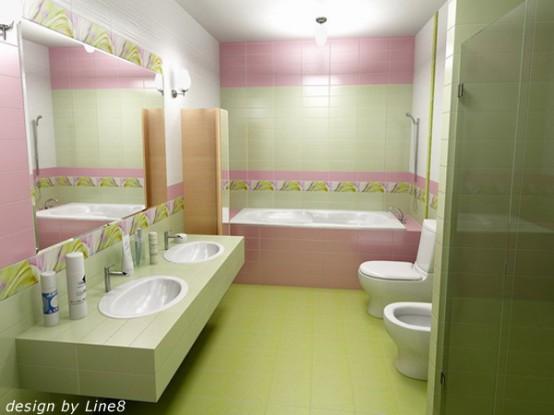 Baie amenajata in combinatia verde roz si alb