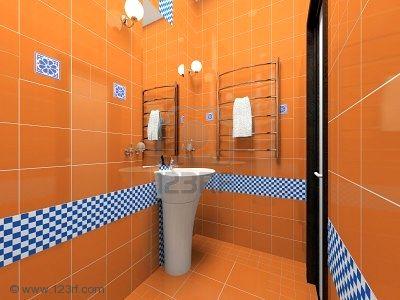Baie cu faianta si gresie portocalie si brau decorativ alb cu albastru
