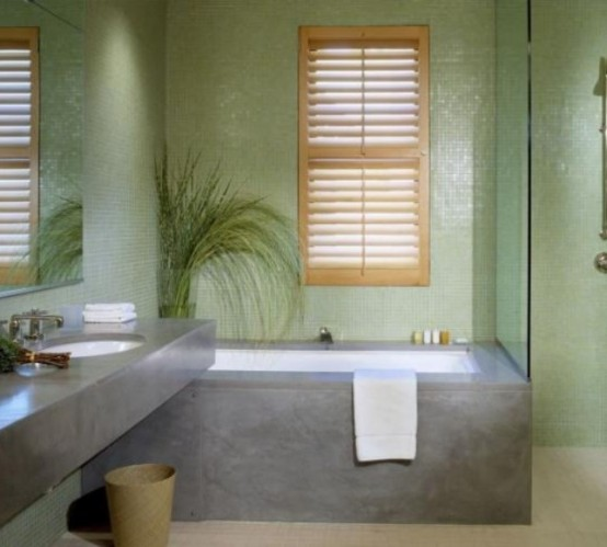 Combinatie de faianta verde cu gri pentru baie