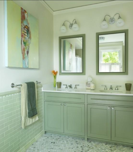 Masca pentru chiuveta verde si oglinzi asortate cu rama verde