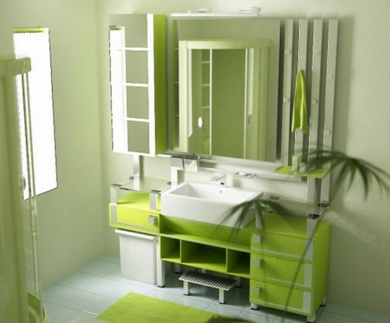Mobilier pentru baie verde